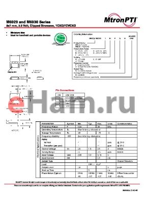 M6029FJFSN datasheet - 5x7 mm, 3.0 Volt, Clipped Sinewave, TCXO/TCVCXO