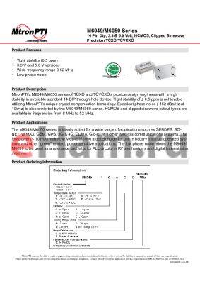 M60491LXCD datasheet - 14 Pin Dip, 3.3 & 5.0 Volt, HCMOS, Clipped Sinewave Precision TCXO/TCVCXO
