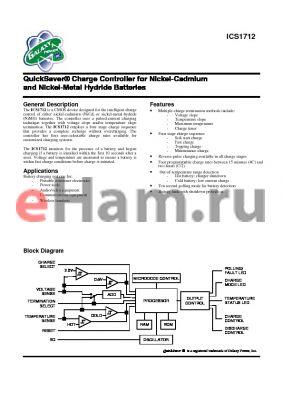 ICS1712N datasheet - Charge Controller for Nickel-Cadmium and Nickel-Metal Hydride Batteries