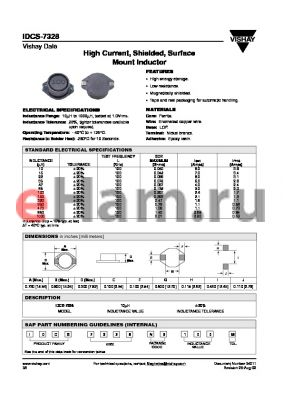 IDCD7328ER100M datasheet - High Current, Shielded, Surface Mount Inductor