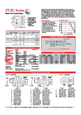 FCSL90R005JER datasheet - Metal Foil Current Sense