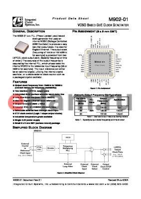 M902-01I125.0000 datasheet - VCSO BASED GBE CLOCK GENERATOR