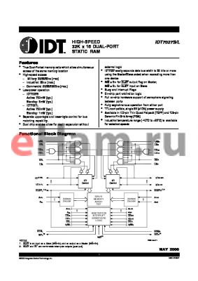 IDT7027L35GI datasheet - HIGH-SPEED 32K x 16 DUAL-PORT STATIC RAM