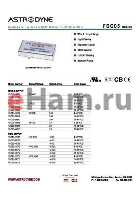 FDC05-24S12 datasheet - Isolated and Regulated 5 WATT Modular DC/DC Converters