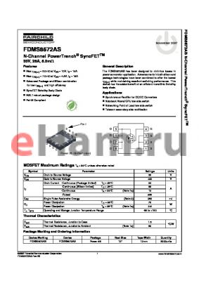 FDMS8672AS datasheet - N-Channel PowerTrench^ SyncFET 30V, 28A, 5.0mY