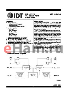 IDT7134SA45L48B datasheet - HIGH-SPEED 4K x 8 DUAL-PORT STATIC SRAM