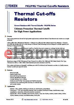 FKU5MB1KJP datasheet - FKU/FRU Thermal Cut-offs Resistors
