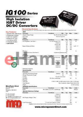 IG136-15 datasheet - High Isolation IGBT Driver DC/DC Converters