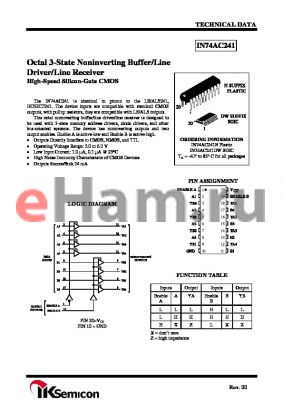 IN74AC241N datasheet - Octal 3-State Noninverting Buffer/Line Driver/Line Receiver High-Speed Silicon-Gate CMOS