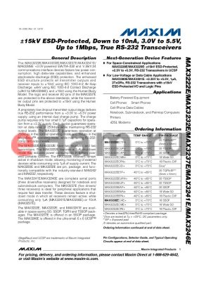 MAX3222EEWN+ datasheet - a15kV ESD-Protected, Down to 10nA, 3.0V to 5.5V, Up to 1Mbps, True RS-232 Transceivers