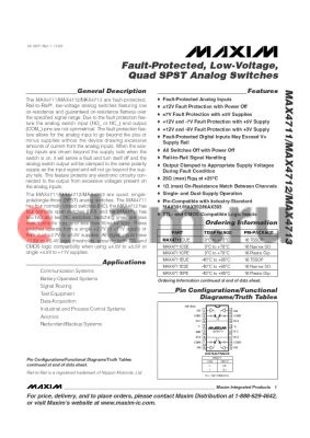 MAX4713EUE datasheet - Fault-Protected, Low-Voltage, Quad SPST Analog Switches