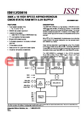 IS61LV25616-10LQI datasheet - 256K x 16 HIGH SPEED ASYNCHRONOUS CMOS STATIC RAM WITH 3.3V SUPPLY