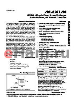 MAX6387XS37D1-T datasheet - SC70, Single/Dual Low-Voltage, Low-Power lP Reset Circuits