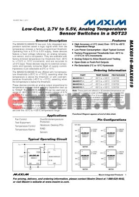 MAX6519UKN015 datasheet - Low-Cost, 2.7V to 5.5V, Analog Temperature Sensor Switches in a SOT23