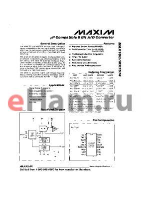 MAX7574SD datasheet - lP Compatible 8 Bit A/D Converter