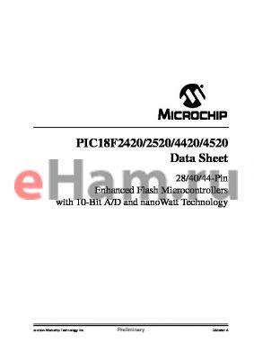 PIC18F4420TI/SP datasheet - 28/40/44-Pin Enhanced Flash Microcontrollers with 10-Bit A/D and nanoWatt Technology