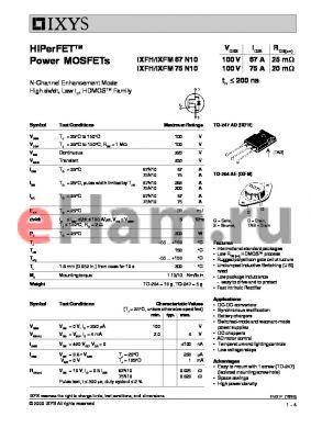 IXFH75N10 datasheet - HiPerFET Power MOSFETs