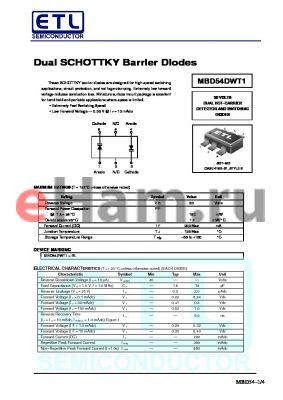 MBD330DWT1 datasheet - Dual SCHOTTKY Barrier Diodes