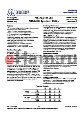 GS816236BGB-250IV datasheet - 1M x 18, 512K x 36 18MbS/DCD Sync Burst SRAMs