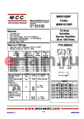 MBR1090F datasheet - 10 Amp Schottky Barrier Rectifier 20 to 100 Volts