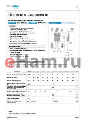 MBR2040FCT datasheet - 20 AMPERES SCHOTTKY BARRIER RECTIFIERS