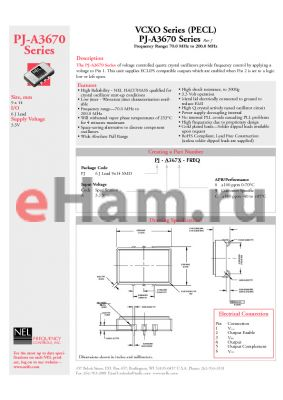 PJ-A3670-119.0 datasheet - VCXO Series (PECL)