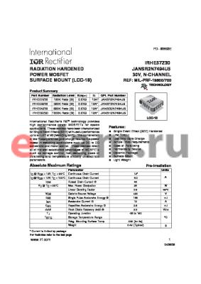 JANSF2N7494U5 datasheet - RADIATION HARDENED POWER MOSFET SURFACE MOUNT (LCC-18)