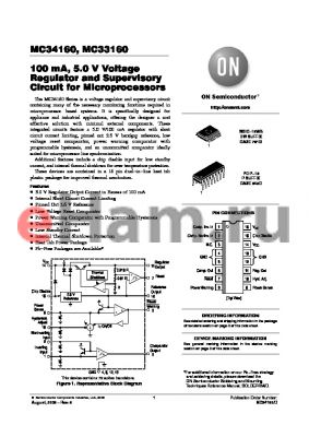 MC33160P datasheet - 100 mA, 5.0 V Voltage Regulator and Supervisory Circuit for Microprocessors