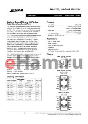 HA7-5102-2 datasheet - Dual and Quad, 8MHz and 60MHz, Low Noise Operational Amplifiers
