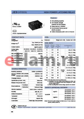 JE93I5HR4 datasheet - HIGH POWER LATCHING RELAY