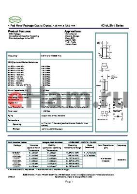 HC49USM9-JH1F18-20.000 datasheet - 4 Pad Metal Package Quartz Crystal, 4.8 mm x 12.5 mm