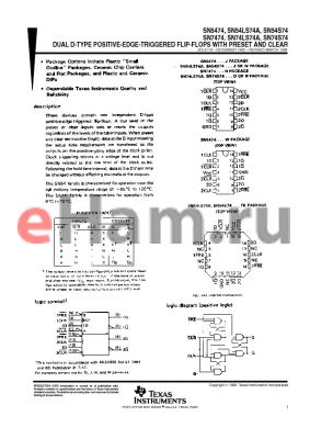 JM38510/30102B2A datasheet - DUAL D-TYPE POSITIVE-EDGE-TRIGGERED FLIP-FLOPS WITH PRESET AND CLEAR