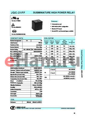 JQC-21FF/0051HSTF datasheet - SUBMINIATURE HIGH POWER RELAY