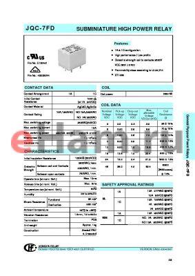JQC-7FD/0051HNILNILF datasheet - SUBMINIATURE HIGH POWER RELAY