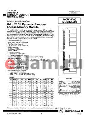 MCM32L200 datasheet - 2M x 32 Bit Dynamic Random Access Memory Module