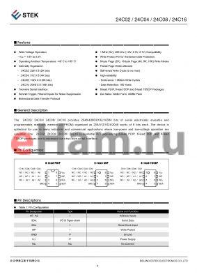 K24C080-DIR-A datasheet - 8-lead PDIP, 8-lead SOP and 8-lead TSSOP Packages