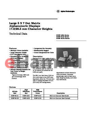 HDSP-4501-F0000 datasheet - Large 5 X 7 Dot Matrix Alphanumeric Displays 17.3/26.5 mm Character Heights