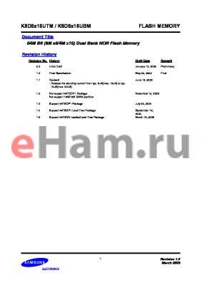 K8D6316UTM-LI07 datasheet - 64M Bit (8M x8/4M x16) Dual Bank NOR Flash Memory