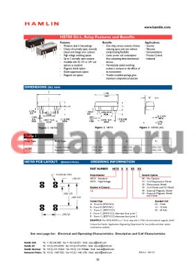 HE722R0510 datasheet - D.I.L. Relay Features and Benefits