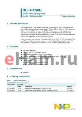 HEF40098B datasheet - 3-state hex inverting buffer