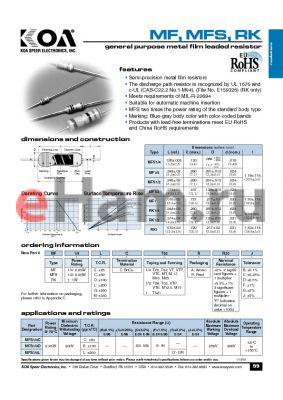 MFS1LCT521RR20J datasheet - general purpose metal film leaded resistor
