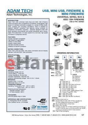 MFWABTRA datasheet - USB, MINI USB, FIREWIRE & MINI FIREWIRE UNIVERSAL SERIAL BUS & IEEE 1394 FIREWIRE