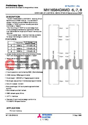 MH16S64DAMD-6 datasheet - 1073741824-BIT (16777216 - WORD BY 64-BIT)Synchronous DRAM
