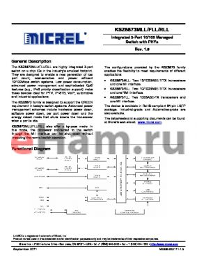 KSZ8873MLL datasheet - Integrated 3-Port 10/100 Managed Switch with PHYs