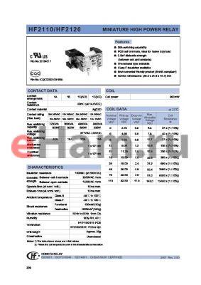 HF2110-1B6FXXX datasheet - MINIATURE HIGH POWER RELAY