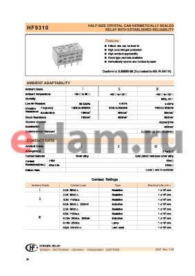 HF9310-005L11I datasheet - HALF-SIZE CRYSTAL CAN HERMETICALLY SEALED RELAY WITH ESTABLISHED RELIABILITY