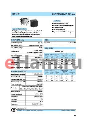 HFKP/0121Z2T datasheet - AUTOMOTIVE RELAY