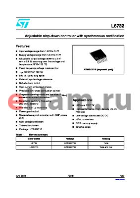 L6732 datasheet - Adjustable step-down controller with synchronous rectification