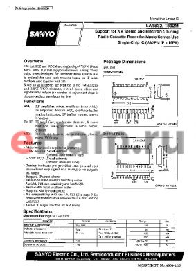 LA1832 datasheet - Support for AM Stereo and Electronic Tuning Radio Cassette Recorder/Music Center-Use Single-Chip IC (AM/FM IF  MPX)