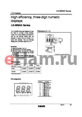 LB-303MA datasheet - High efficiency, three-digit numeric displays